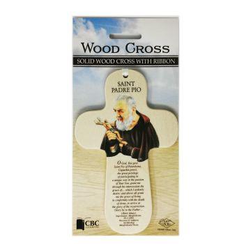 Saint Padre Pio image wood cross with ribbon and prayer 15cm