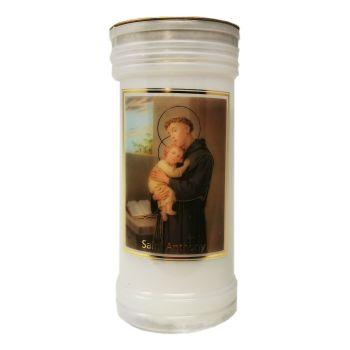 Catholic St. Anthony candle 72 hour burn white 15cm with prayer