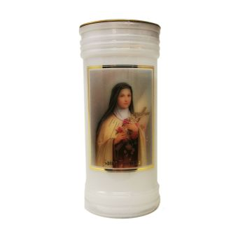 Catholic St. Theresa Little Flower candle 72 hour burn white 15cm with prayer