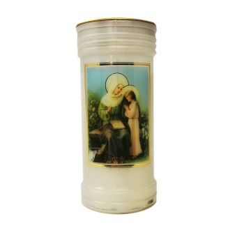 Catholic St. Anne candle 72 hour burn white 15cm with daily prayer