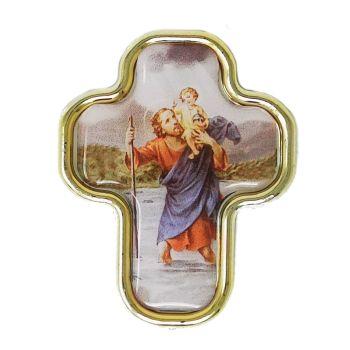 4.5cm St. Christopher car plaque cross shape sticker magnet auto gift