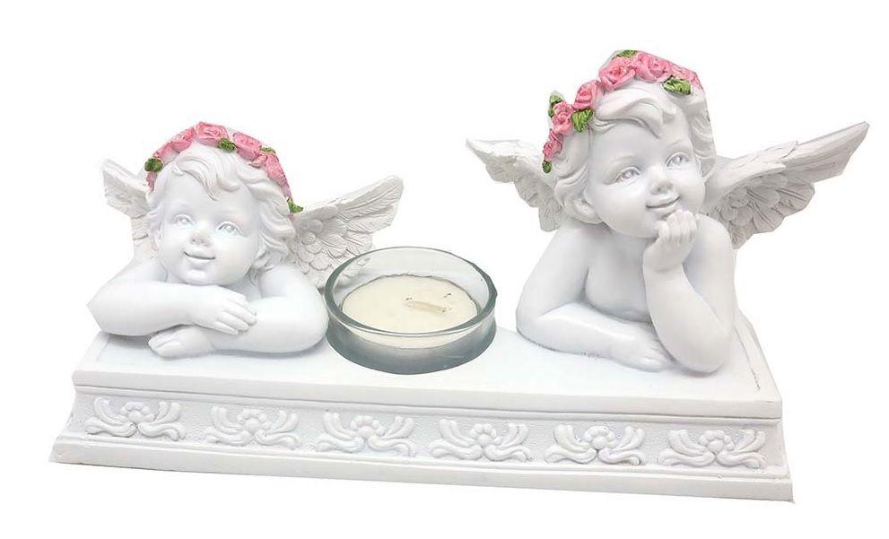 Angel cherubs tealight candle holder white rose flower design 22cm