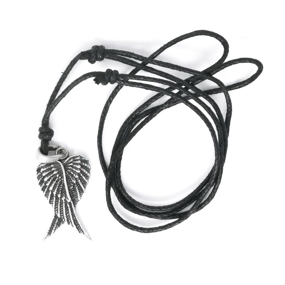 Pewter angel wings necklace on black adjustable cord nickel free 3cm penda