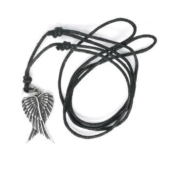 Pewter angel wings necklace on black adjustable cord nickel free 3cm pendant