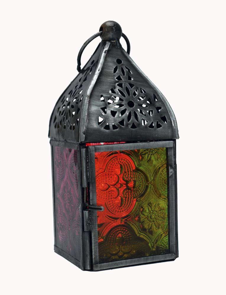 Antique style metal glass lantern candle holder tea light 13cm