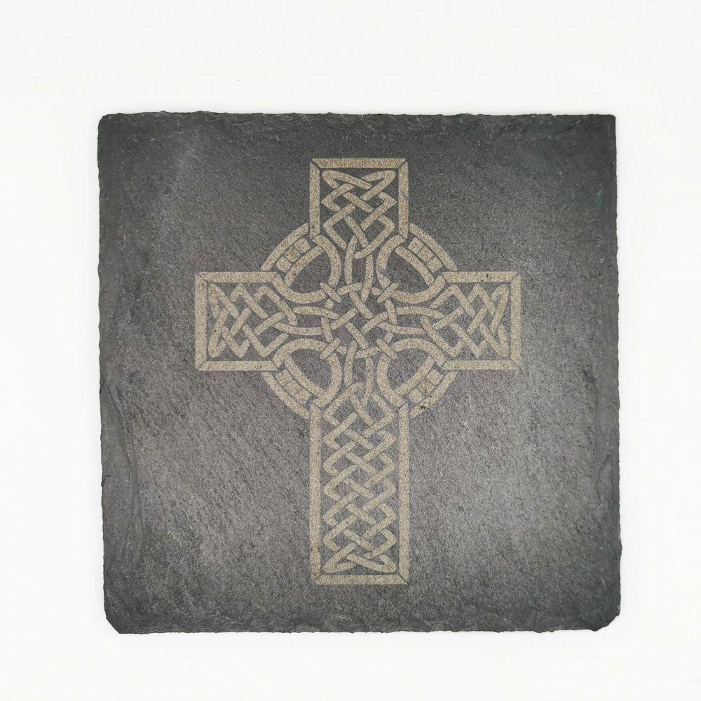 Laser engraved celtic cross coaster square 10cm padded feet gift
