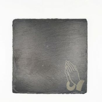 Laser engraved praying hands coaster square 10cm padded feet gift