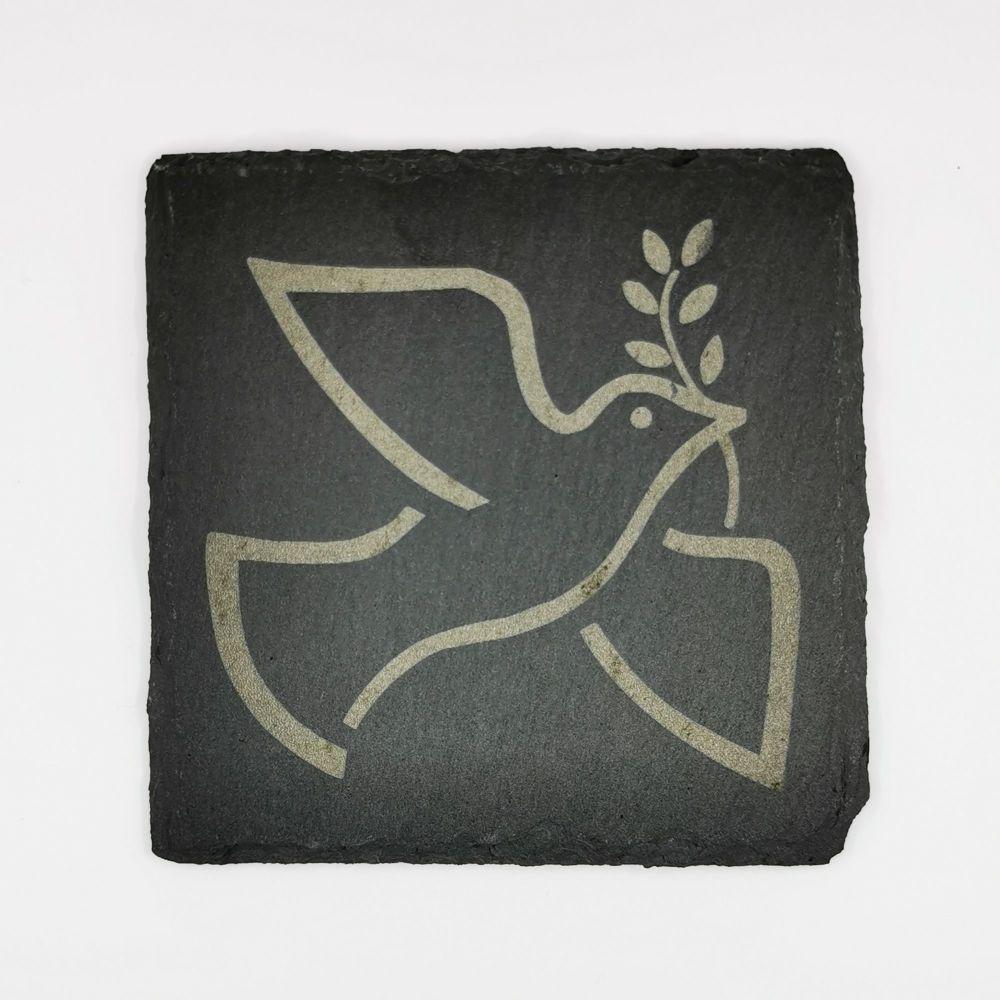 Laser engraved holy spirit dove coaster square 10cm padded feet Christian