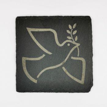 Laser engraved holy spirit dove coaster square 10cm padded feet Christian gift