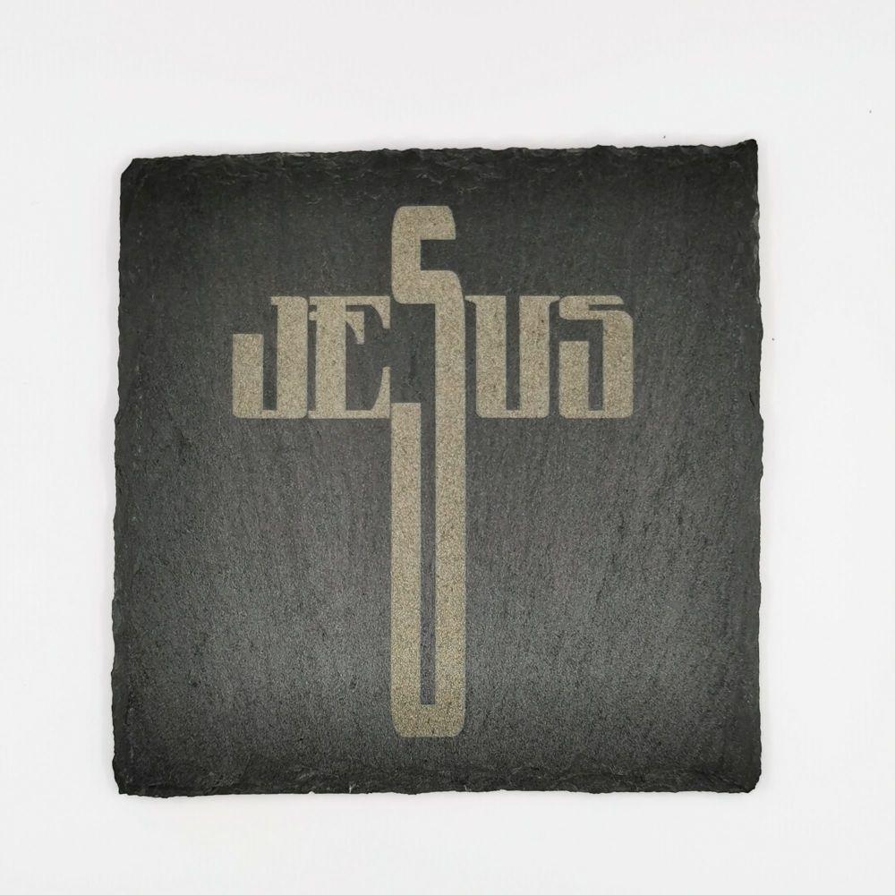 Laser engraved Jesus cross coaster square 10cm padded feet gift
