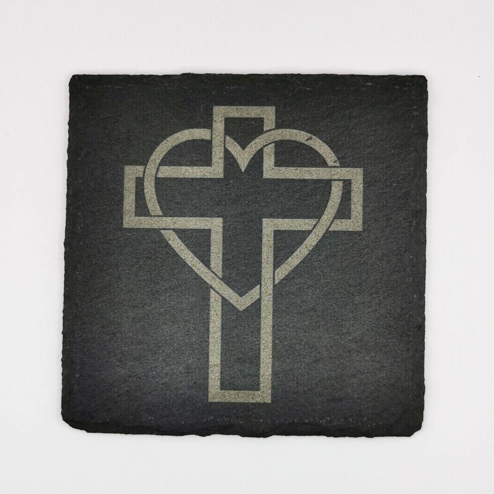 Laser engraved heart cross coaster square 10cm padded feet Christian gift