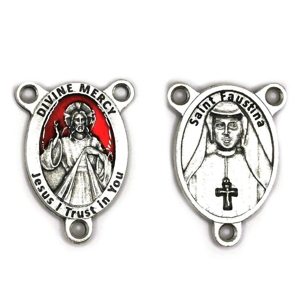 Divine mercy center junction for rosary beads red enamel detail St. Fausti