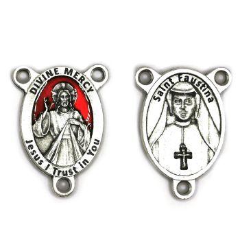 Divine mercy center junction for rosary beads red enamel detail St. Faustina reverse 2.5cm