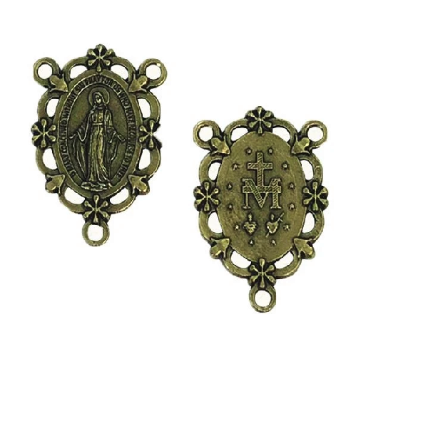 Miraculous center junction for rosary beads connector brass colour 3cm Vir