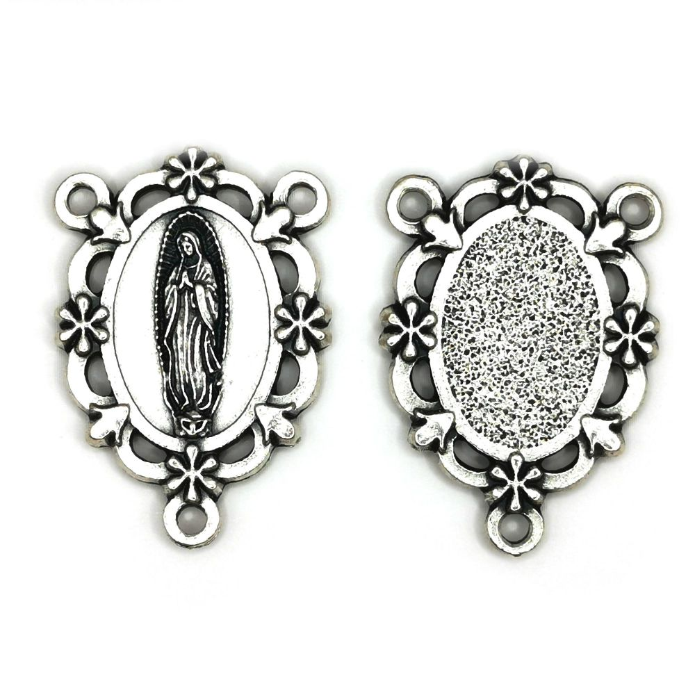 Our lady of Guadalupe center junction for rosary beads connector silver co