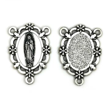 Our lady of Guadalupe center junction for rosary beads connector silver colour 3cm