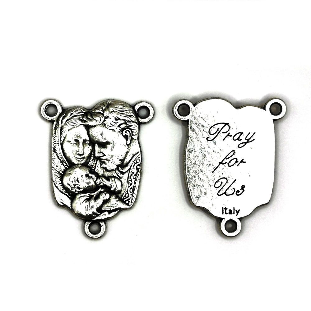 Sacred Family center junction for rosary beads Holy connector silver colou