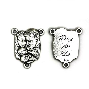 Sacred Family center junction for rosary beads Holy connector silver colour 2.5cm
