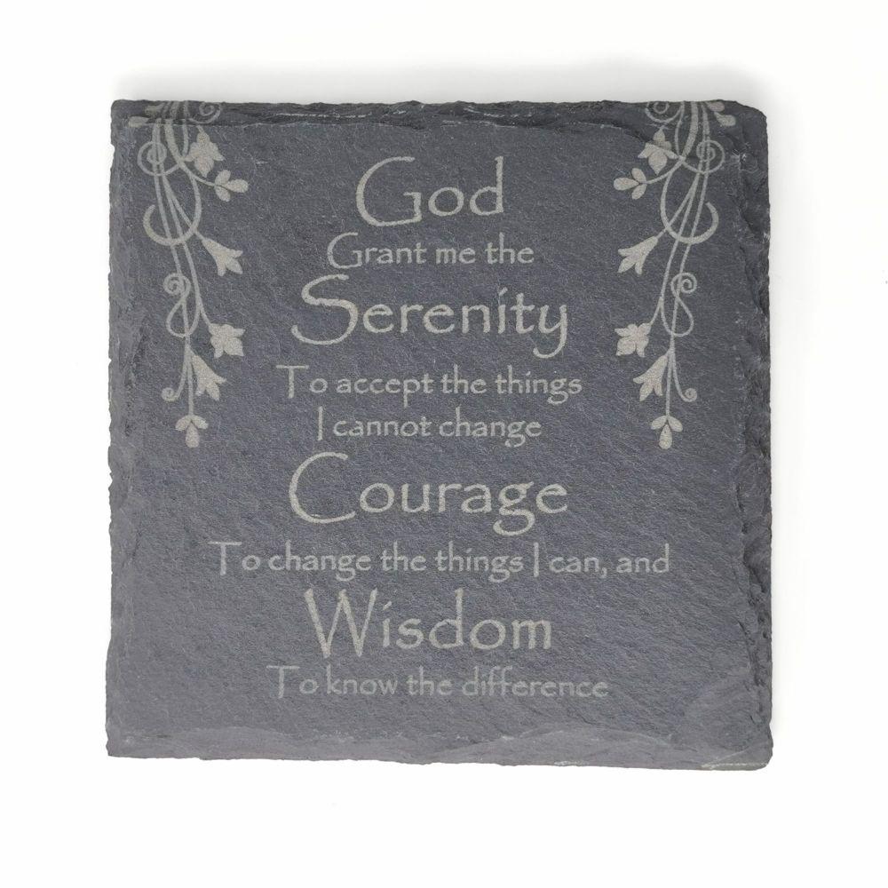Serenity prayer coaster laser engraved slate square 10cm padded feet gift