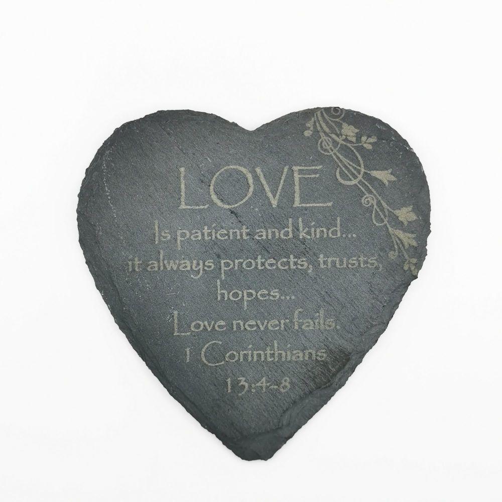 Corinthians Love is patient coaster heart shaped slate laser engraved 10cm