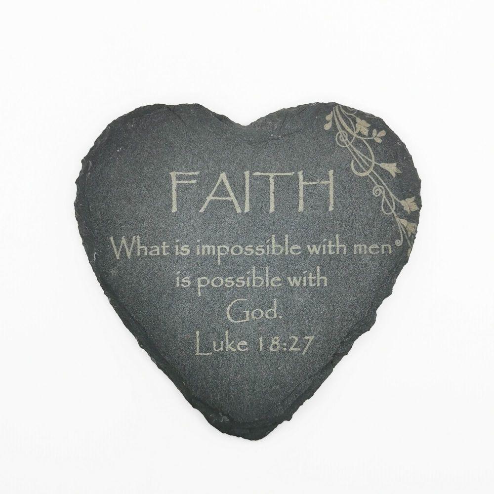 Christian Faith coaster heart shaped slate laser engraved 10cm padded feet