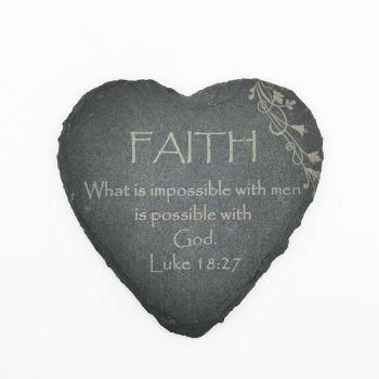 Christian Faith coaster heart shaped slate laser engraved 10cm padded feet gift