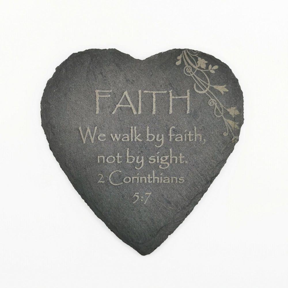 Corinthians Faith coaster heart shaped slate laser engraved 10cm padded fe