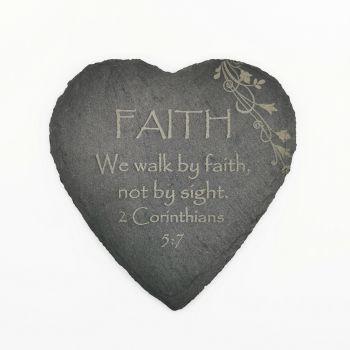 Corinthians Faith coaster heart shaped slate laser engraved 10cm padded feet Christian gift