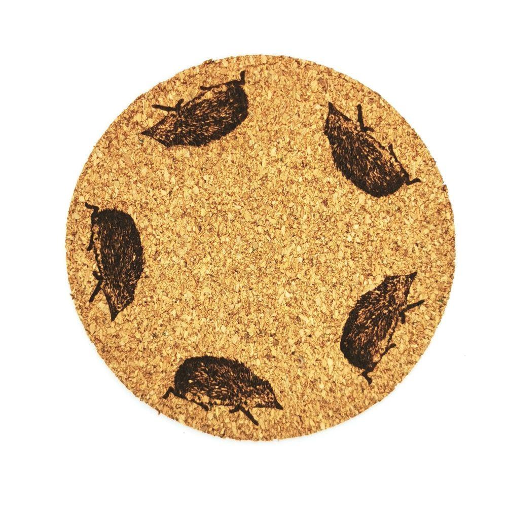Hedgehog coasters round cork country wildlife design 9.5cm x 4