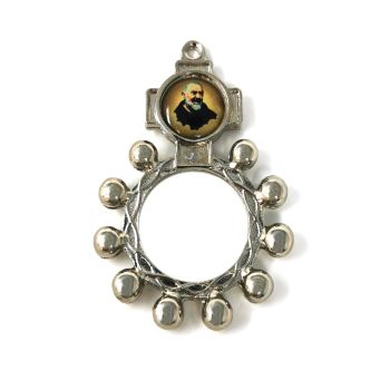 St. Padre Pio rosary beads ring silver metal 5cm Catholic pocket prayer