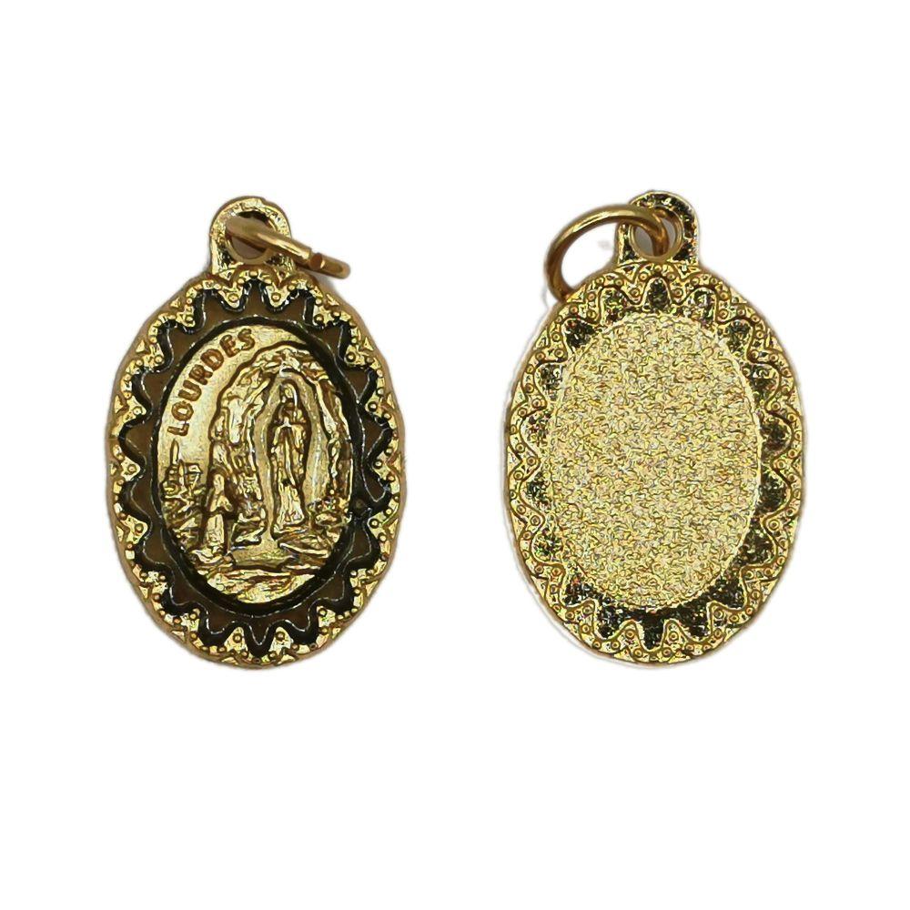 Antique style Our Lady of Lourdes medal 2.2cm gold colour metal