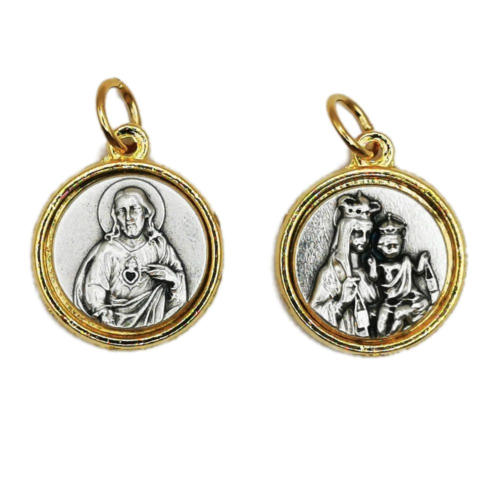 Scapular medal Sacred Heart of Jesus and Our Lady of Carmel medal in brass