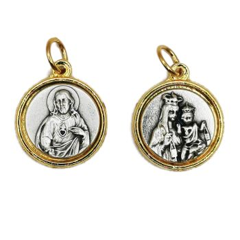 Scapular medal Sacred Heart of Jesus and Our Lady of Carmel medal in brass and silver tone 1.8cm
