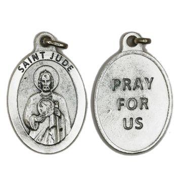 Large St. Jude medal 4.5cm silver colour metal