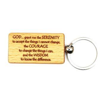 Serenity prayer keyring lasered wood rectangular keychain 9cm
