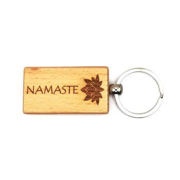 Namaste keyring with lotus blossom flower lasered wood rectangular keychain 9cm