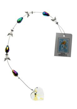Angels suncatcher rainbow beads and glass rainbow heart 30cm mobile
