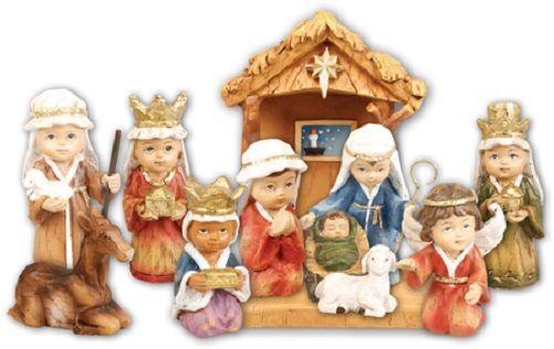 Children's Nativity set figurines Holy family Kings Angel Shepherd cattle 8