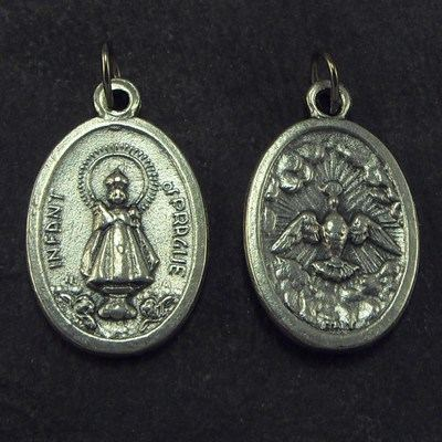 Silver metal Infant of Prague medal pendant