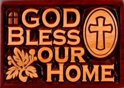 Christian God Bless Our home plaque solid mahogany 14cm