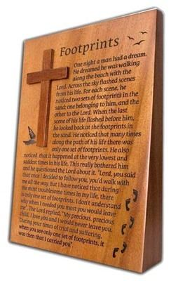 Footprints plaque - Wooden Christian gift