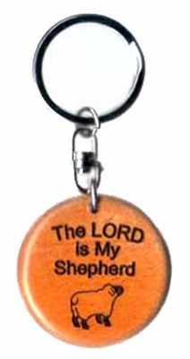 Wooden The Lord is my Shepherd sheep christian keyring