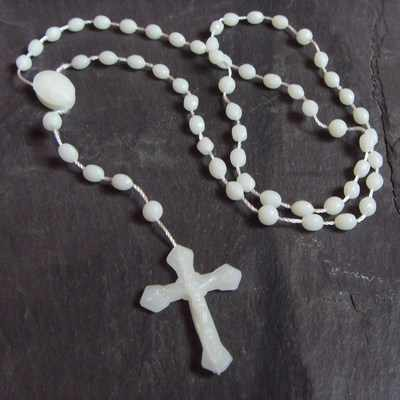 Rosary beads necklace glow in the dark plastic