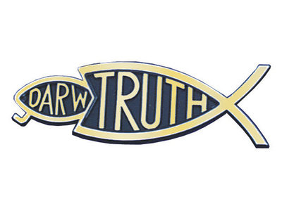 Christian bumper Christian sticker gold Truth fish eating Darwin fish