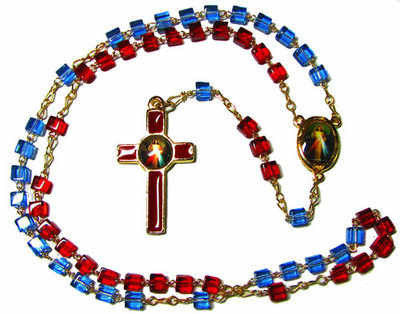 Divine Mercy blue red glass heart rosary beads gold chain