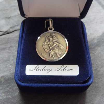 Sterling silver St. Christoper gift boxed medal 25mm