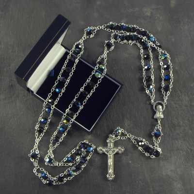 Large extra strong black glass ladder rosary beads