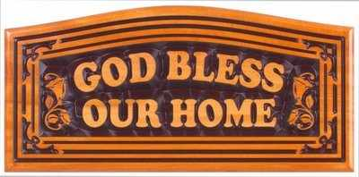 Large God Bless Our Home Christian plaque wooden 16.5