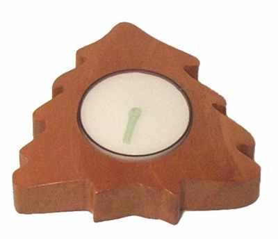 Christmas tree candle tealight holder brown wood 8.5cm