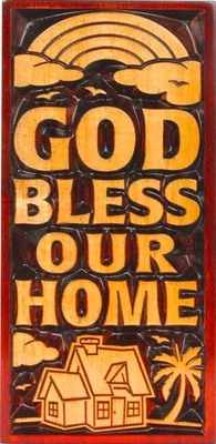 God Bless Our Home rainbow Christian plaque wooden 20cm